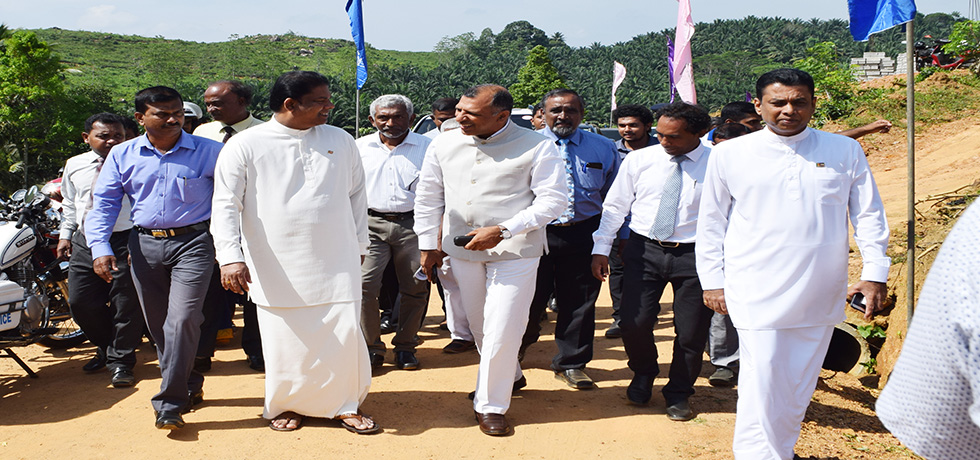 Consul General, Mr. Prem Nair with Mr Gayantha Karunathilaka Hon'ble Minister of Lands and Parliamentary Reforms At the Foundation Stone Laying Ceremony of houses being built under grant of Government of India, at Yakkalamulla, Galle on 25th March 2018