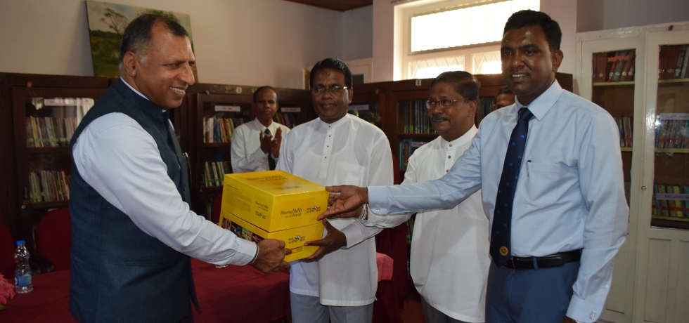 "Presentation a set of books showcasing the cultural and linguistic diversity of India under ""Bharat – Ek Parichay – Sharing knowledge with the world"" initiative to  Matara public library"