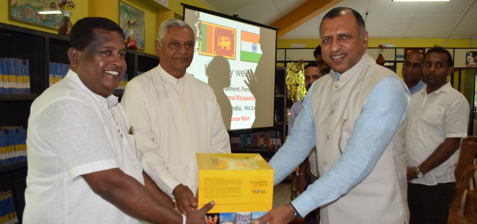 """Presentation of a set of books showcasing the cultural and linguistic diversity of India under """"Bharat – Ek Parichay – Sharing knowledge with the world"""" programme to Thissamaharama public library"""