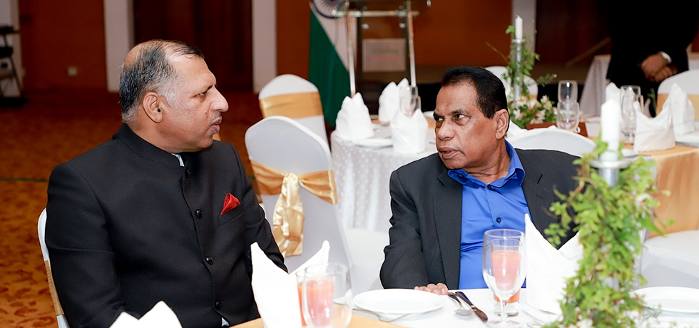 Consul General with Dr. Willie Gamage, Hon'ble Governor of Southern Province on the occasion of 71st Republic Day Reception held at Jetwing Lighthouse Hotel,Galle on 26th January 2020
