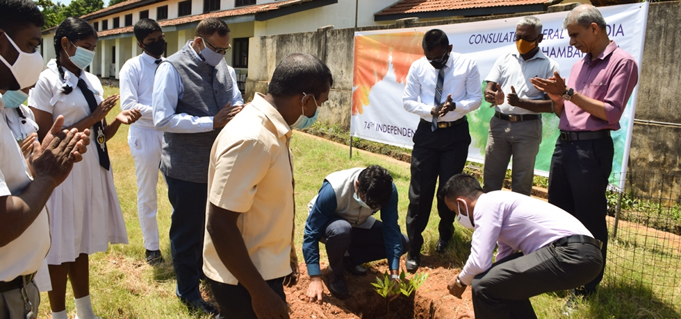 Celebrating India's 74th Independence Day Consul General Mr. Dipin P.R planted tree saplings along with children at St. Mary's College, Hambantota