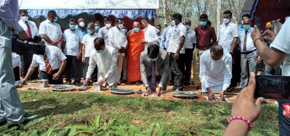 Consul General  Shri Dipin P.R, Minister for Plantation Hon. (Dr) Ramesh Pathirana and State Minister of Estate Housing and Community Infrastructure Hon. Jeevan Thondaman laid the Foundation Stone for 50 houses to be constructed under the Indian Housing Project, at Walahanduwa Estate in Galle