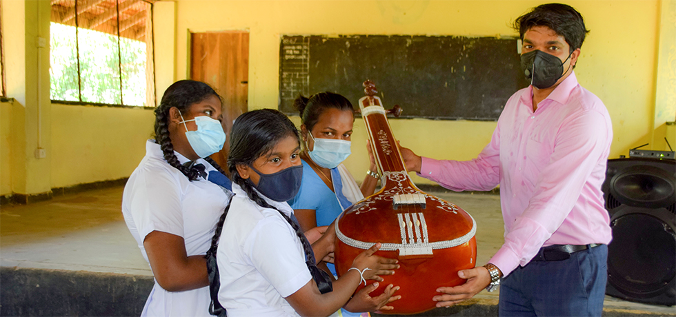 Consul General Mr. Dipin P.R presented Indian Classical musical instruments to Weligatta Maha Vidyalaya, Hambantota