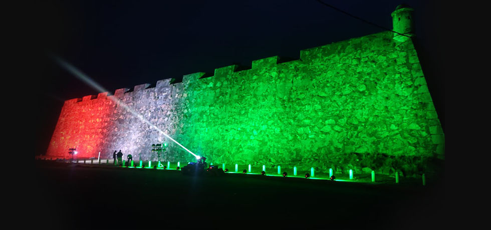 Illumination of UNESCO World Heritage Galle Fort on 75th Independence Day